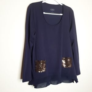 LOGO Blouse Sequin Pockets